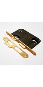 Дверной замок  магнитный под ключ золото матовое